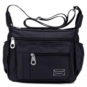 Leisure Zippers and Nylon Design Shoulder Bag For Women - Black - 39