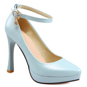 Ankle Strap Rhinestone Pumps - Light Blue - 39