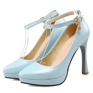 Ankle Strap Rhinestone Pumps - LIGHT BLUE 37