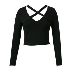 Criss Cross Cropped Tee - Black - L