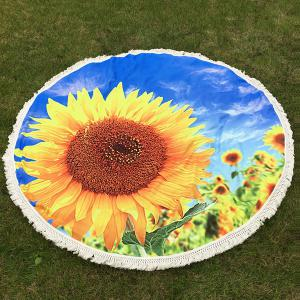 3D Sunflower Printed Round Beach Throw with Tassel - Yellow - One Size