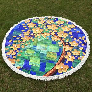 Flowered Tree Oil Painting Round Beach Throw with Tassel - Yellow - One Size