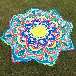 Mandala Lotus Flower Beach Throw with Small Pompons - Blue - One Size
