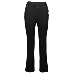 High Waist Button Embellished Straight Leg Pants - Black - S