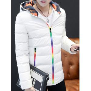 Pocket Rainbow Zippers Hooded Padded Jacket - WHITE 2XL