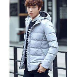 Plain Pocket Zip Up Hooded Padded Jacket -