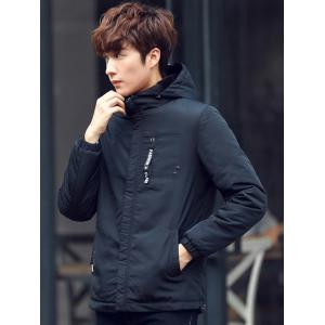Pocket Elastic Cuff Zippered Hooded Padded Jacket -