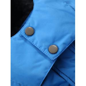 Two Tone Zippered Hooded Flocking Jacket -