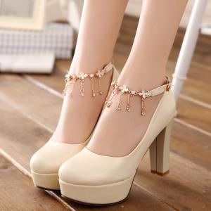 Rhinestones Ankle Strap Pumps -