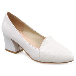 Embossing Faux Leather Pumps - White - 39