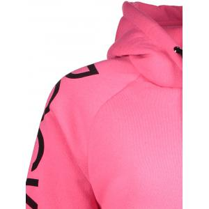 Drawstring Letter Printed Funny Hoodie - PINK S