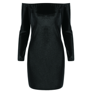 Off The Shoulder Velvet Long Sleeve Fitted Dress - Black - S
