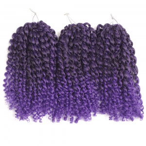 Short Fluffy Curly Heat Resistant Fiber Hair Extension - Black And Purple