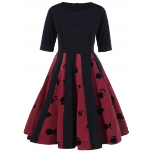 Rose Print Pleated Flare Dress