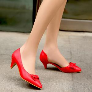Cone Heel Faux Leather Pumps -
