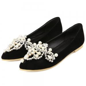 Faux Pearls Pointed Toe Flat Shoes -