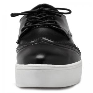 Tie Up Pointed Toe Athletic Shoes - BLACK 39