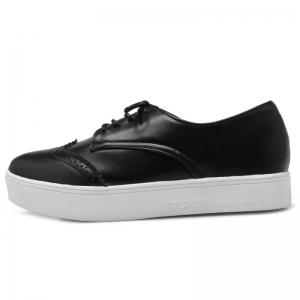 Tie Up Pointed Toe Athletic Shoes - BLACK 37