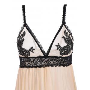 See-Through Lace High Waist Babydoll Sleepwear - APRICOT L