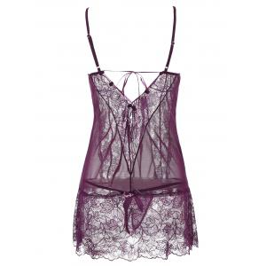 See-Through Lace Insert Babydoll - PURPLE L