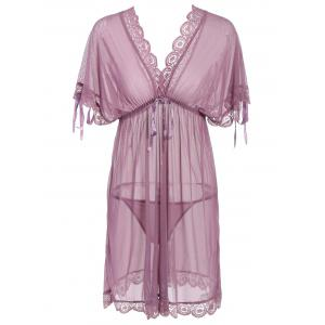 Low Cut See-Through Lace Insert Babydoll - Pale Pinkish Grey - One Size