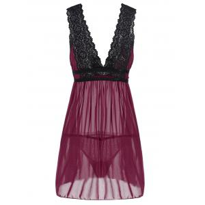 Low Cut See-Through Lace Sleepwear Trim Babydoll - DEEP RED L