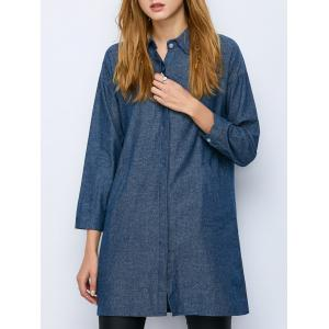 Oversized Long Sleeve Longline Chambray Shirt - Denim Blue - L