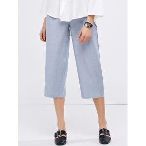 Casual High Waist Crop Gaucho Pants - Grey Blue - S