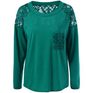 Lace Insert Pocket T-Shirt - Green - M
