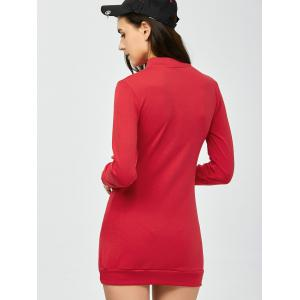 Lace-Up Mini robe manches longues Bodycon - Rouge 2XL
