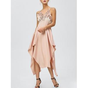 Sequin Nude Handkerchief Cami Midi Night Out Dress - Light Apricot Pink - Xl