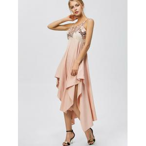 Sequin Nude Handkerchief Cami Midi Night Out Dress - LIGHT APRICOT PINK S