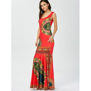 African Tribal Print Mermaid Maxi Dress - RED M