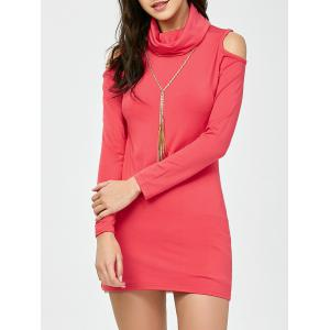Cold Shoulder Long Sleeve Mini Bodycon Dress - Watermelon Red - S
