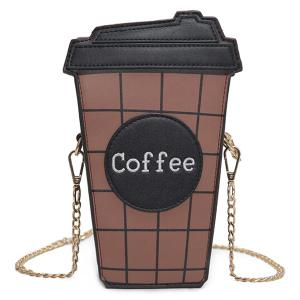 Coffee Cup Plaid Crossbody Bag - Black - 38