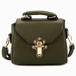 Faux Leather Studded Crossbody Bag - Army Green - 44
