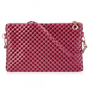 Double Zipper Faux Leather Crossbody Bag - Rose Red