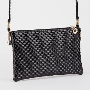 Double Zipper Faux Leather Crossbody Bag - BLACK