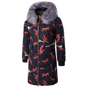 Zip Up Camo Padded Coat with Furry Hood - Red - M