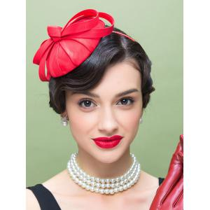 1940s Hairband Pillbox Hat with Bowknot - Red