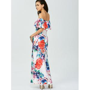 Floral Off The Shoulder Long Dress for Wedding - WHITE 2XL