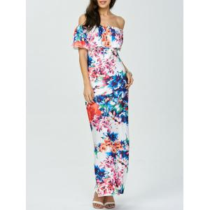 Floral Off The Shoulder Long Dress for Wedding