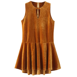 Velvet Sleeveless Mini Dress - Gold Brown - S
