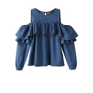 Cold Shoulder Ruffles Denim Blouse