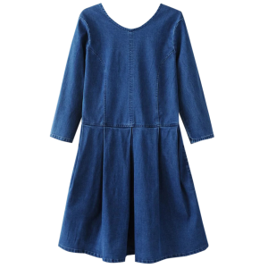 Back U Neck Denim Dress - Blue - S