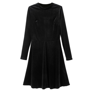 Velvet Stand Neck Long Sleeve Cotton A-Line Dress