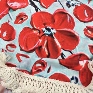 Peinture Flowered huile d'arbre Plage ronde Throw avec Tassel - Rouge TAILLE MOYENNE