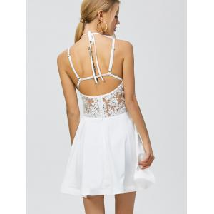 Halter Backless Short Homecoming Skater Dress - WHITE XL
