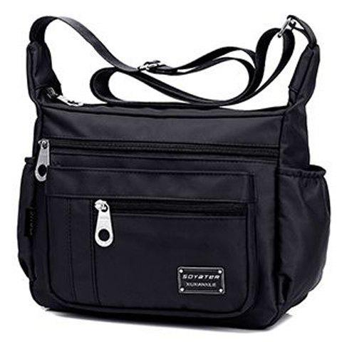 Outfits Leisure Zippers and Nylon Design Shoulder Bag For Women - BLACK  Mobile