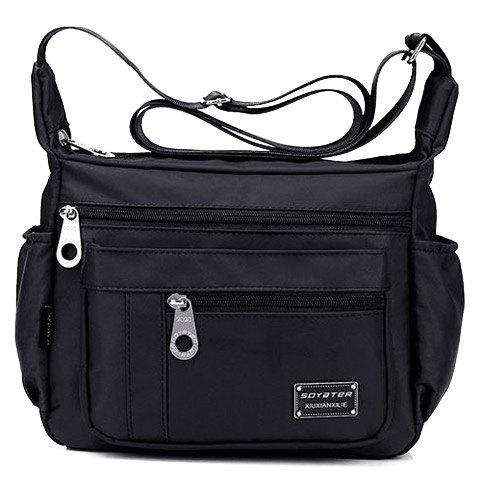 Latest Leisure Zippers and Nylon Design Shoulder Bag For Women - BLACK  Mobile